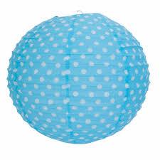 Clayre En Eef Rijstpapier Lamp Kinderkamer Blauw Met Witte Stippen