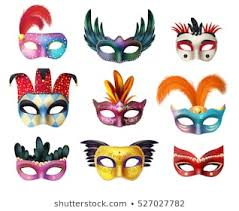 authentic handmade venetian painted carnival face masks collection for party decoration or masquerade realistic isolated vector