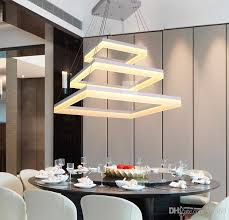 modern led rectangle pendant lamp led chandeliers fixture gold dining room living room bright led lamp lighting silver and black warm white with