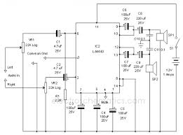 wiring diagram ref la stereo amplifier circuit 3 pre amp ground 4 audio mute 5 dc 6 audio in 2 7 nf2 8 gnd 9 bs 2 10 audio out 2 11 vcc 12 audio out 1