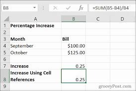 how to calculate percene increase or