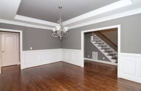 wainscoting dining room. Gray Formal Dining Room With White Wainscoting And Trey Ceiling.