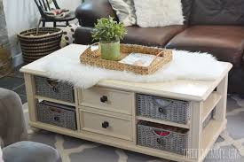 how to paint wicker baskets with chalk paint an easy coffee table makeover