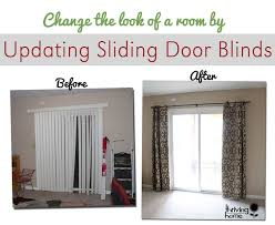 update sliding door blind trick is to use curtains on grommets so easy to move them