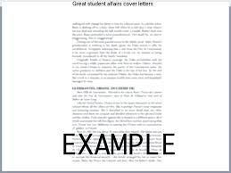 Student Affairs Cover Letter Sample Student Affairs Cover Letter Customer Cover Letter Example