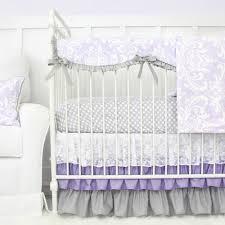 grey and lavender crib bedding