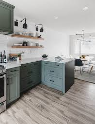 modern olive green kitchen before