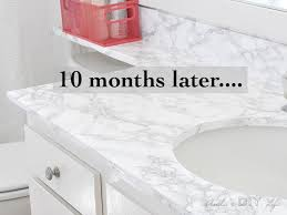 bathroom countertop with faux marble contact paper countertop