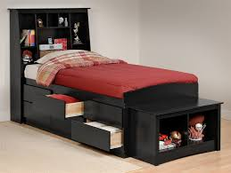 Black Twin Bed Frame with Storage — Modern Beds : Twin Bed Frame ...