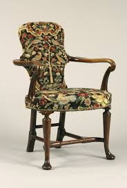 English  Walnut Queen Anne Period Shepherds Crook Armchair With  Contemporary Needlework Queen Anne Armchair17