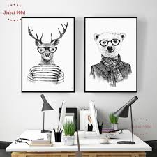 hand draw animals canvas art print poster deer and polar bear set wall pictures for on black and white bear wall art with hand draw animals canvas art print poster deer and polar bear set