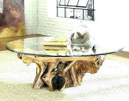 glass coffee table with tree base tree stump table base stump dining table a natural tree
