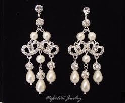 pearl chandelier bridal earrings chandelier wedding earings pearl bridal earings vintage style wedding earings rhinestone pearl earring