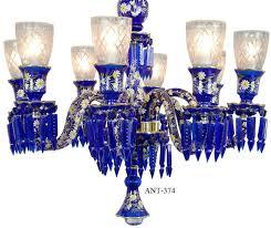 blue glass chandelier vintage hardware lighting antique 8 light cobalt bohemian and crystals ant sea