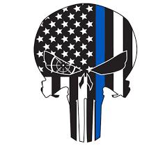 thin blue line flag punisher skull 7 5