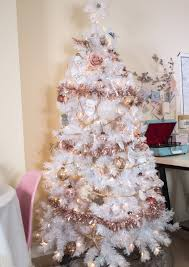Little White Christmas Lights White Christmas Tree With Rose Gold And Pink Decorations