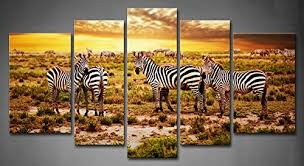 amazon first wall art 5 panel wall art yellow orange zebras herd on savanna at sunset africa safari in serengeti tanzania painting pictures print on  on safari canvas wall art with amazon first wall art 5 panel wall art yellow orange zebras