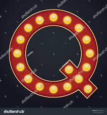Letter Q alphabet sign marquee light bulb vintage carnival or circus style  ,Vector illustration