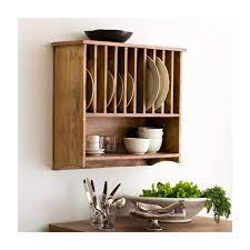 rustic unfinished wooden plate rack
