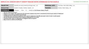 civil division deputy sheriff job resume