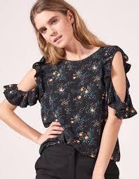 Iva, Black,   sandro-paris.com   Floral tops, Bare shoulder tops, Tops