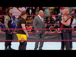 Image result for 4-way confrontation between Brock Lesnar, Roman Reigns, Samoa Joe and Braun Strowman