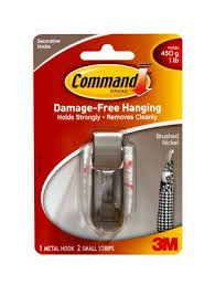 command hooks metal. command™ modern reflections brushed nickel small metal hook - mr01-bn command hooks l