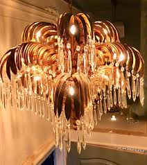 gilt metal crystal glass palm tree leaves chandelier in style of hans kögl circa