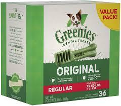 Greenies Size Chart Greenies Original Regular Dental Dog Treats