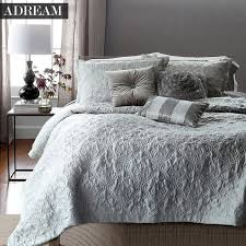 ADREAM Faux Silk Cotton Bedspread Coverlet Quilt Grey Quilted ... & ADREAM Faux Silk Cotton Bedspread Coverlet Quilt Grey Quilted Bedspreads  white Stitching Comforter Queen King bed pillowcase 3pc-in Quilts from Home  ... Adamdwight.com