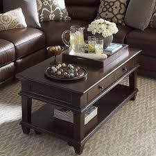 furniture traditional wooden coffee tables for small spaces design on large beige area rug and sectional dark brown leather sofa home decoration ideas