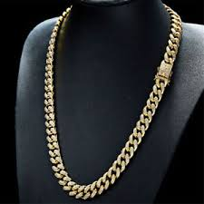 image is loading 18k gold plated cz iced out cuban chain