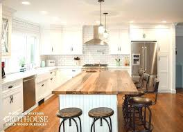 full size of white kitchen cabinets with light wood countertops black floors subway tile and butcher