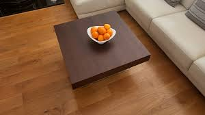 square wood veneer and glass small coffee table