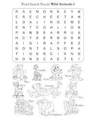 Preschool Word Search Puzzle Wild Animals 1 | Download Free ...