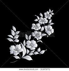 silver twig sakura blossoms on black background vector ilration