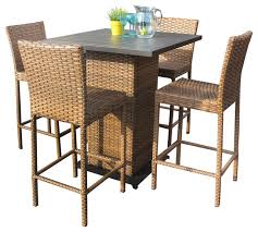 tuscan outdoor wicker pub table with bar stools 5 piece set tropical outdoor pub and bistro sets by design furnishings
