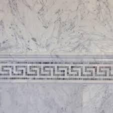 carrara tile bathroom. 6×12 Bianco Carrara Marble Tile With Greek Key Border And 12×24 Bathroom D
