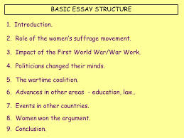 how important were the activities of the women s suffrage movement basic essay structure 1 introduction 2 role of the women s suffrage movement