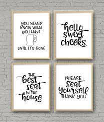 Set Of 4 Printable Bathroom Signs Happy Go Lucky
