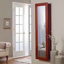 lighted wall mirror. belham living lighted wall mount locking jewelry armoire - cherry 14.5w x 50h in. | hayneedle mirror