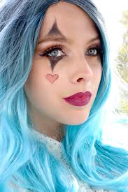 costume idea glam clown makeup easy for women blue wig