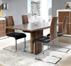 modern manhattan walnut look veneer extending dining table with a stainless steel base thumbnail
