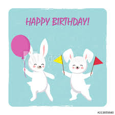 Birthday Postcard Template With Two Happy Bunnies With