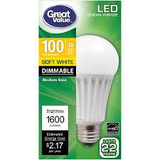 Great Value Cfl Light Bulbs Great Value Led Light Bulb 18w 1600 Lumens And 50 Similar Items