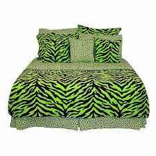 black lime green zebra print bed in a bag set twin size