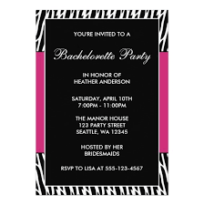 bachelorette party invite pink zebra bachelorette party invitation card