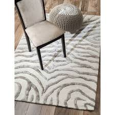 earth plush zebra grey and cream rectangular 5 ft x 8 ft rug