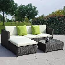 2 piece black resin wicker outdoor patio furniture ideas with sofa with chaise lounge and