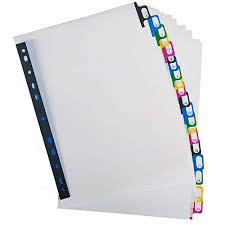 A4 Plastic Binder Index Tab Dividers Reinforced 11 Hole Design Fits
